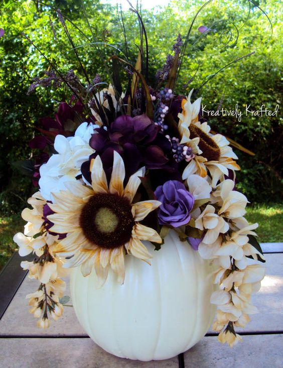 White cream purple plum eggplant pumpkin silk flower for Fall fake flower arrangement ideas