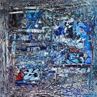 Composition avec Tags récupérés L'hiver dans la Forêt de Célie  à la Queue en Brie Travail sur bois  avec cellulose , photographie numérique , rehauts de peinture