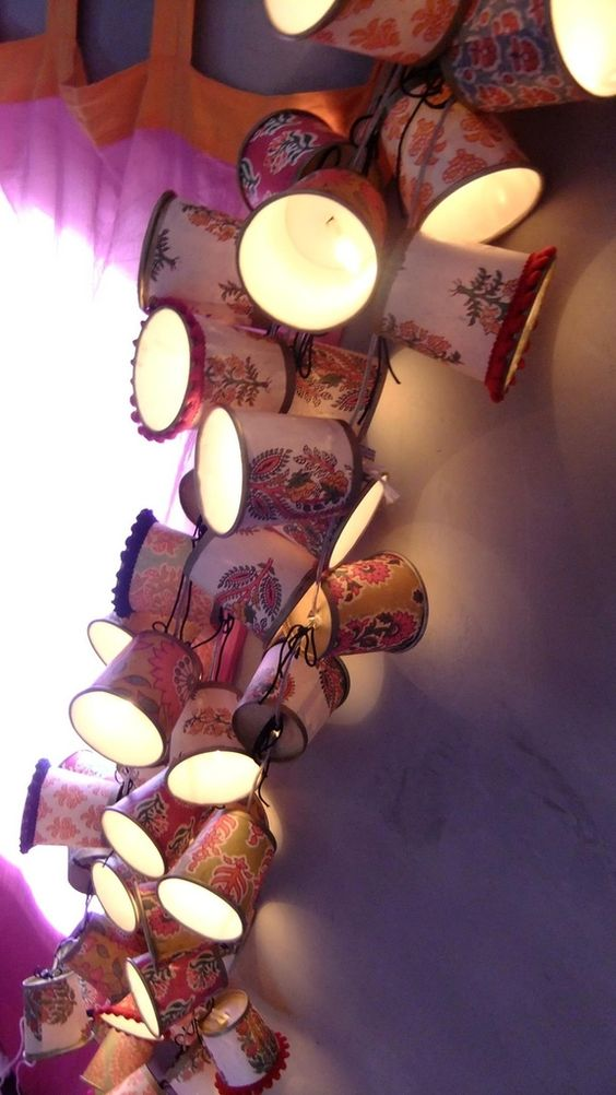 guirlande lumineuse upcyling gobelet café et sublime papier indien motifs…