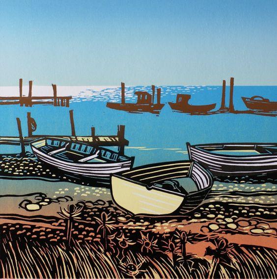 Beached Boats in the Sun  Rob Barnes, Artist printer, Norfolk, linocut
