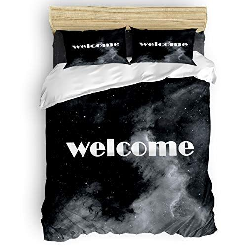 Queen Size 4 Piece Duvet Cover Set Welcome Night Scenery Fade