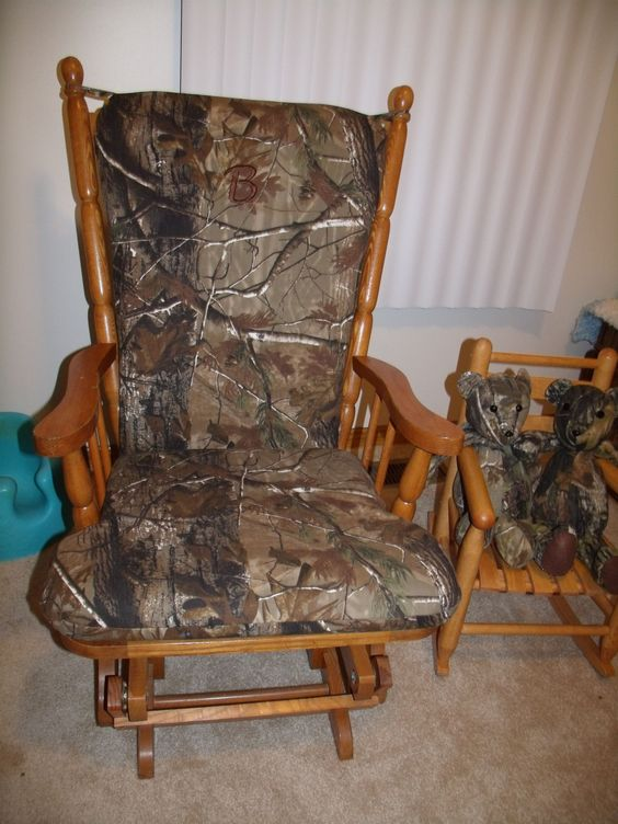 Reupholstered rocking chair to match my son's nursery. Camo :)