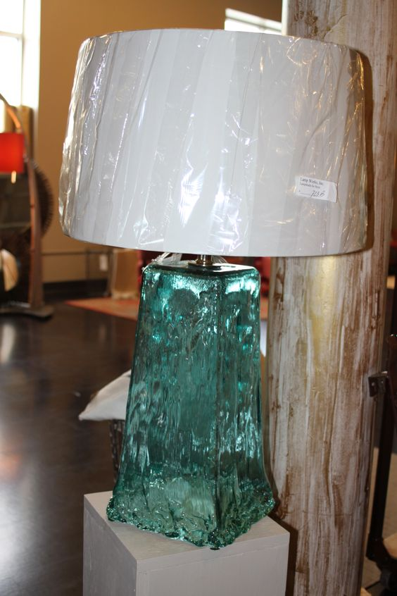 Recycled glass lamps made in America    (needs prettier shade, though)