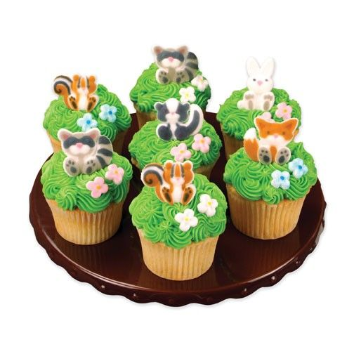 Woodland animals edible sugar decorations for cupcake and for Animal cake decoration