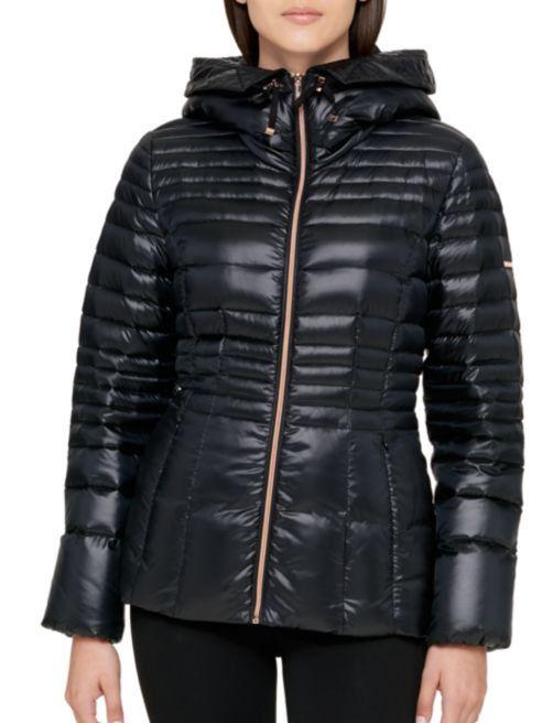 Karl Lagerfeld Paris Women S Hooded Puffer Down Coat Jacket Black Size Xs Karl Lagerfeld Paris Down Coat Designer Outfits Woman