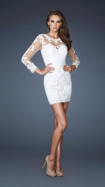 Short White Lace Long Sleeve Cocktail Party Dresses Formal Evening ...