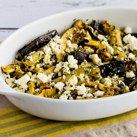 Low-carb Roasted Summer Squash with Lemon, Mint, and Feta is perfect for Meatless Monday, but please, please, please don't skip the mint!