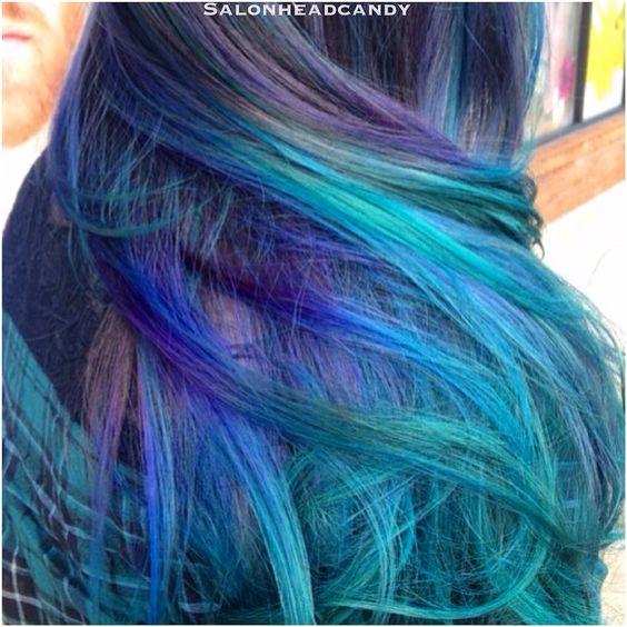 Stunning Mermaid blue balayage hair created by Rianna using Arctic Fox in Violet Dream, Purple
