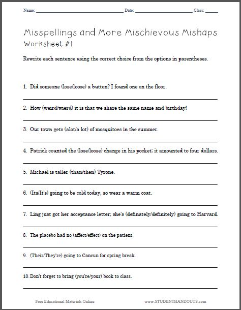 Worksheet Printable Grammar Worksheets worksheets free printable grammar laurenpsyk and on pinterest misspellings more mischievous mishaps worksheet 1