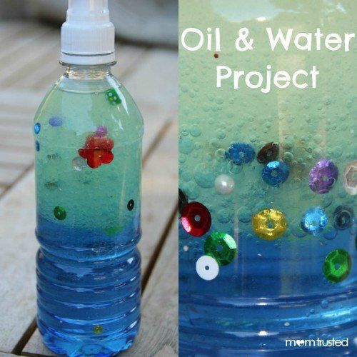 Water Bottle Projects: DIY Oil And Water Project For Kids. How To Make Your Own