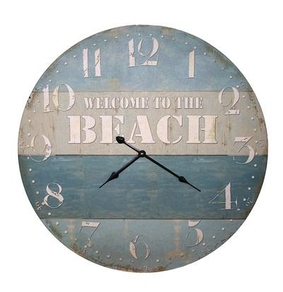 blue wooden clock welcome to the beach design beach house decor home accents pinterest. Black Bedroom Furniture Sets. Home Design Ideas