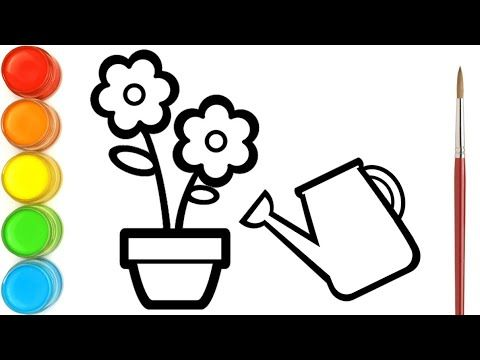 Drawing And Coloring Flowers Butterflies And Watering Can For Children Ara Plays Art Youtube In 2021 Youtube Art Colorful Flowers Drawings
