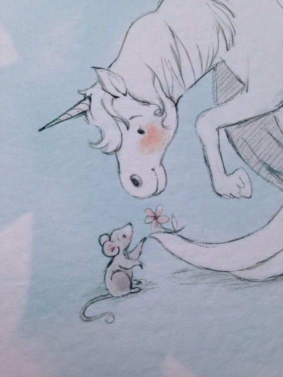 Unicorn & Mouse A4 Print In Blue by LittleCupCreations on Etsy
