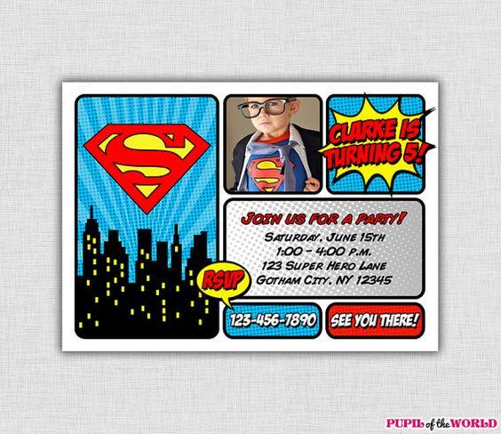 Superman Birthday Party Invitation Personalized By Pupiloftheworld