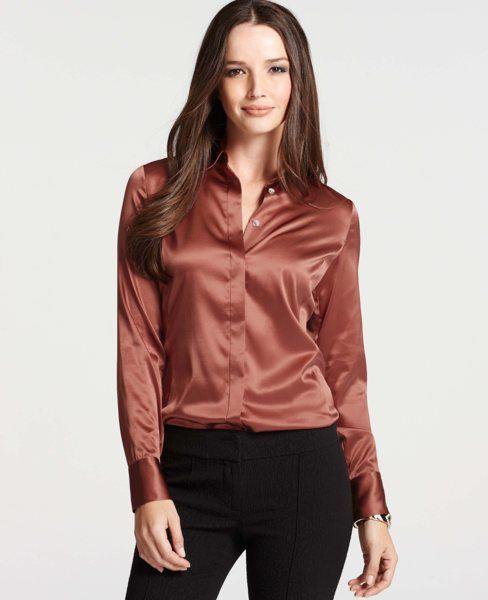 Ann taylor at blouses tops silk legacy button down for Silk button down shirt