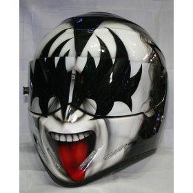 Kiss  custom airbrush paint, race, racing, drifting, motorcycle helmet. www.ridersdna.com, MBK Bangkok, Thailand