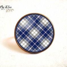 Bague cabochon • ecossais marine bleu blanc • retro vintage