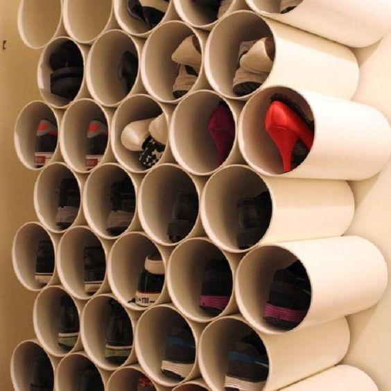 Objetos de Decoração Tubos de PVC para guardar sapatos revistavd 32396