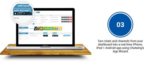 Turn chats and channels from your dashboard into a real time iPhone, iPad + Android app using Chatwing's App Wizard.