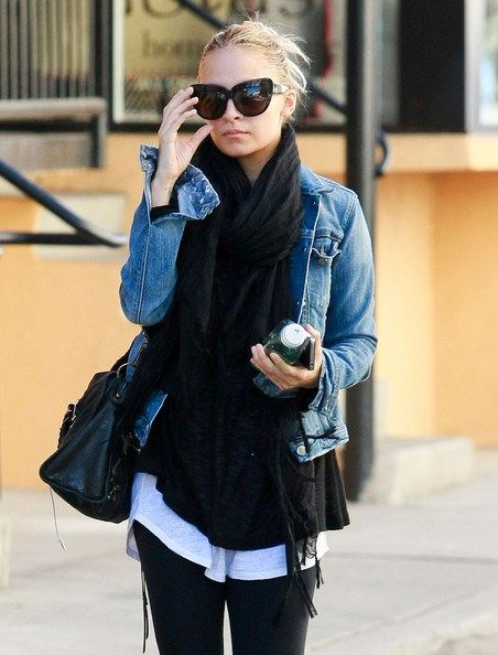 Denim jacket, lots of layers! Perfect for fall/winter.
