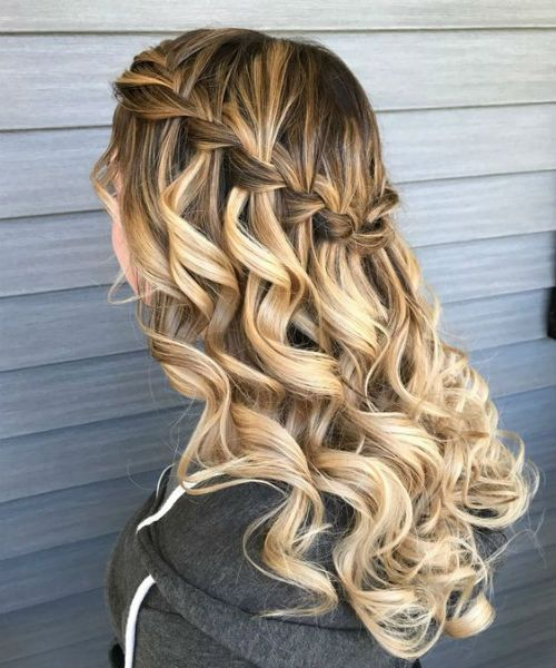 Glamorous Waterfall Braided Long Curly Hairstyles For Parties And Prom Braided Curly Glamorous Hairstyle Hair Styles Down Curly Hairstyles Long Curly Hair