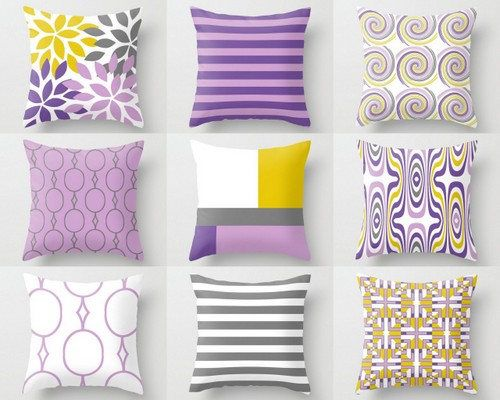 Throw Pillow Cover Purple Lilac Grey Yellow White Home Decor Mix And Match Pillow Covers Sofa Pillow Cover Designer Prints Yellow Throw Pillows Teal Pillows Sofa Pillow Covers