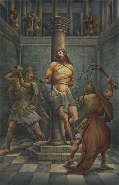 Jesus being scourged at the pillar ~ Torture by Val Buchkov