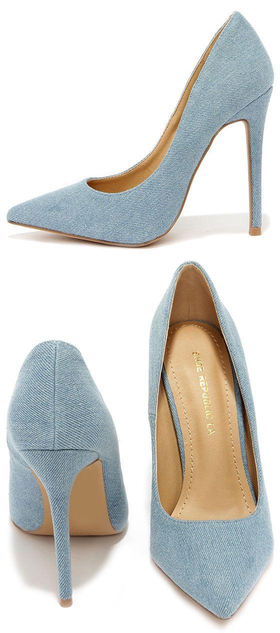 Lean and Jean Blue Denim Pointed Pumps | Pump, Blue denim and Jeans