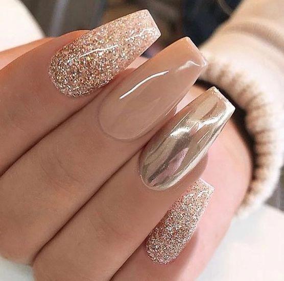 Nails Natural Nails Solid Color Nails Acrylic Nails Cute Nails Wedding Nails Sparkling Glitter Bridal Nails Tan Nail Designs Tan Nails Champagne Nails