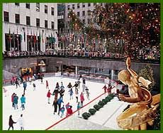 Ice skating at Rockefeller Center at Christmastime