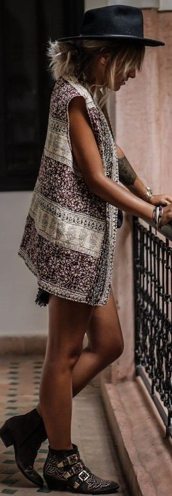 #summer #adorable #outfits | Ethnic Vest + Boots