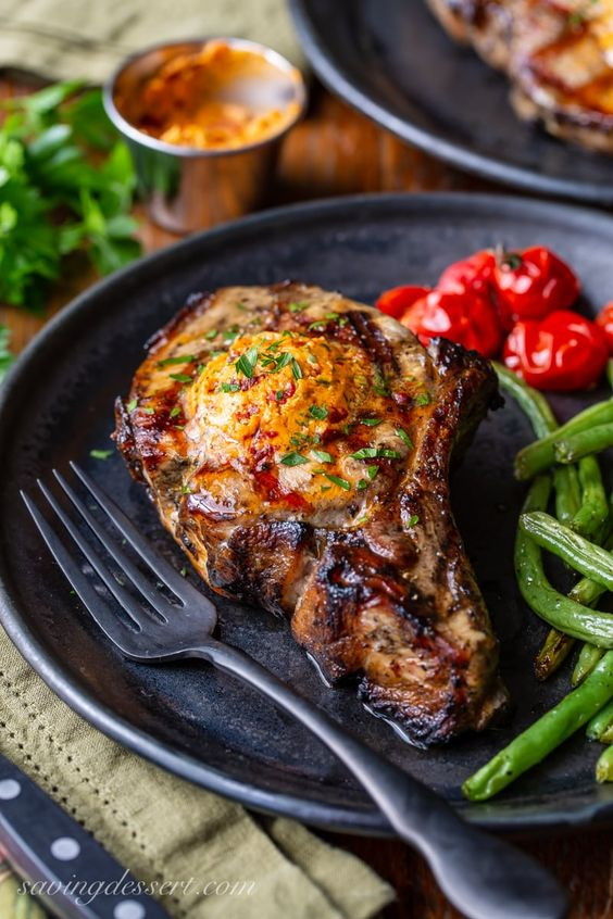 Grilled Pork Chops with Chipotle Butter