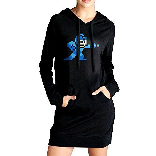 Womens Mega Man Hoodie Black Long Sleeve Sweatshirt Dress With Pocket Small -- Read more reviews of the product by visiting the link on the image.