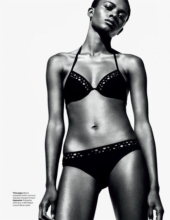 Zuri Tibby6 Zuri Tibby Dons Bold Swimwear Looks for ELLE UK by Marcus Ohlsson