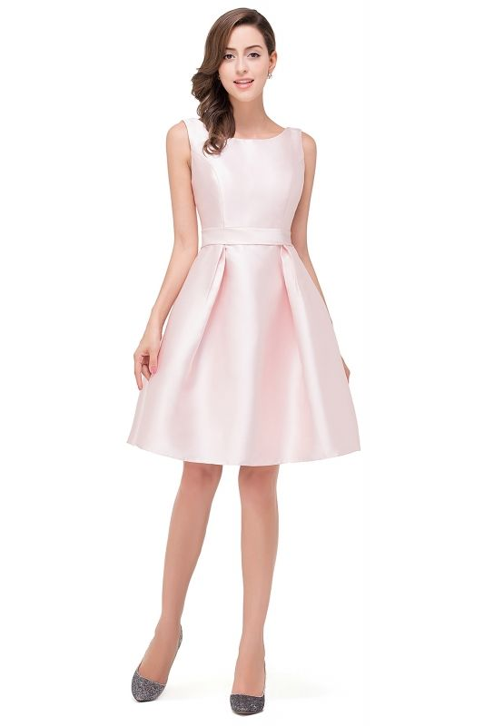 2018 Mezuniyet Elbiseleri Pembe Dizustu Kolsuz Saten Sade Kisa Etekli Elbiseler The Dress Elbise