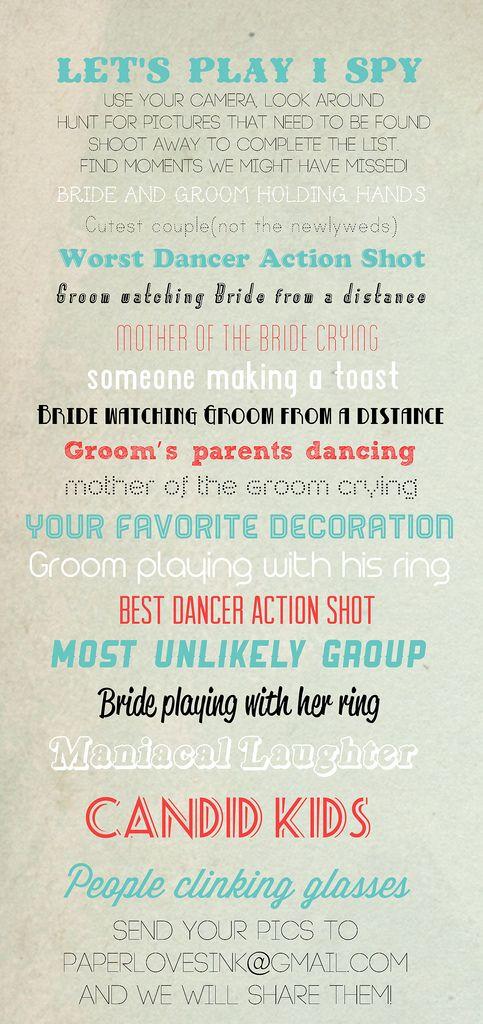 Tolle Idee für ein Spiel auf der Hochzeit. Animiert die Gäste und bringt gleichzeitig schöne Eindrücke vom Hochzeitstag