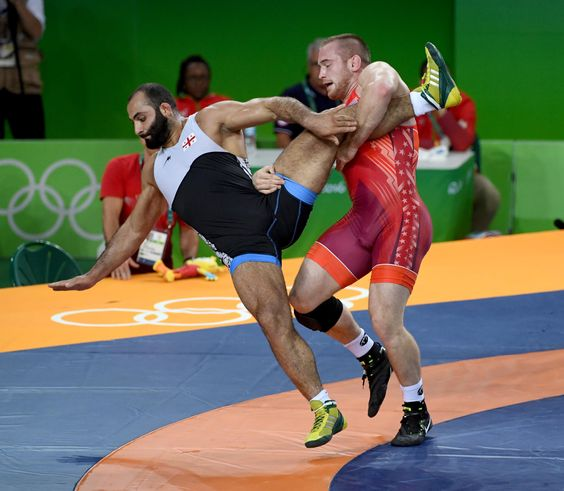 Aug 21, 2016; Rio de Janeiro, Brazil; Elizbar Odikadze (GEO), black, and Kyle Frederick Snyder (USA) compete in a men's freestyle 97kg wrestling semifinal match during the Rio 2016 Summer Olympic Games at Carioca Arena 2. (3385×2951)