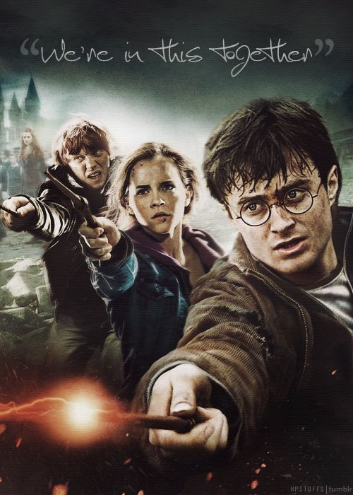 I love how harry always tries to fight his own battle but ron and hermione are always there to back him up!