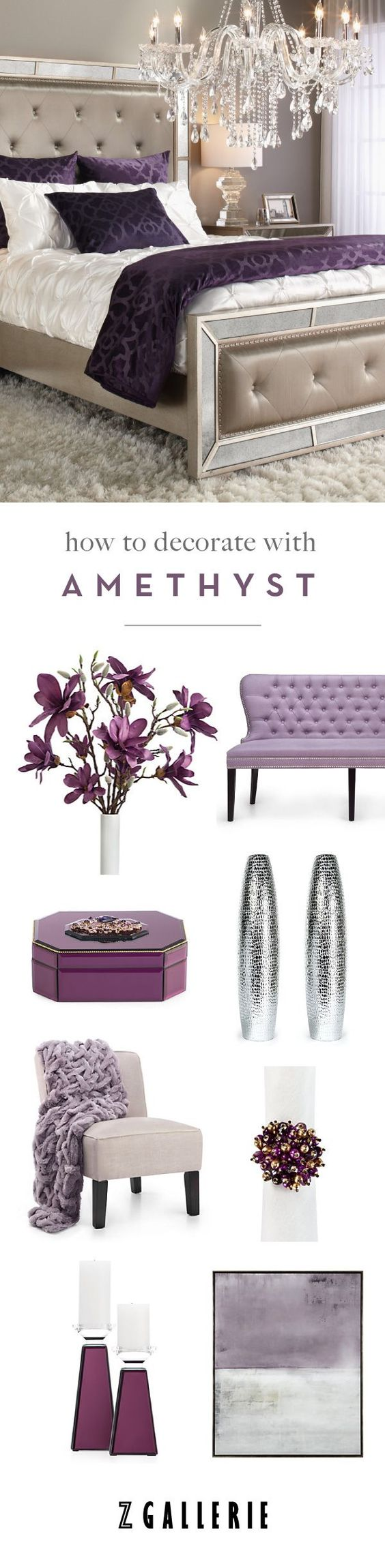 Get easy ideas for infusing amethyst in your space this summer. Explore our Fashionista's Guide to Home Color on http://zgallerie.com!:
