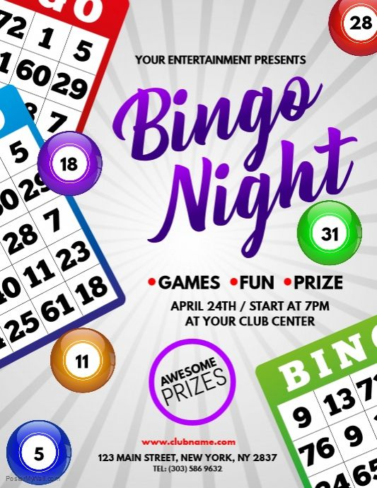 Find Design Templates For Bingo Night Template Easy To Customize Download And Print Or Purchase High Quality Prints From Us Bingo Night Bingo Template Bingo
