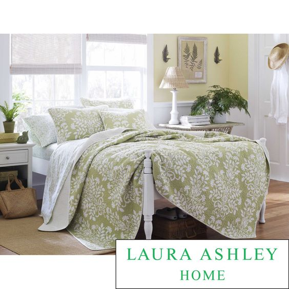 Laura Ashley Rowland Sage 3-piece Quilt Set | Overstock.com Shopping - The Best Deals on Quilts