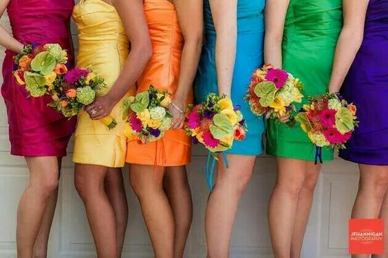 Multicoloured bridesmaids.. why pick a colour when you can have all 6!! #weddinspiratiom
