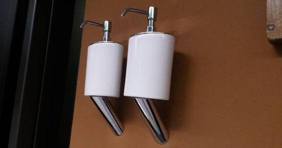 Gessi Seifenspender Wandmontage chrom mit weißem Behälter, art. 25614.031