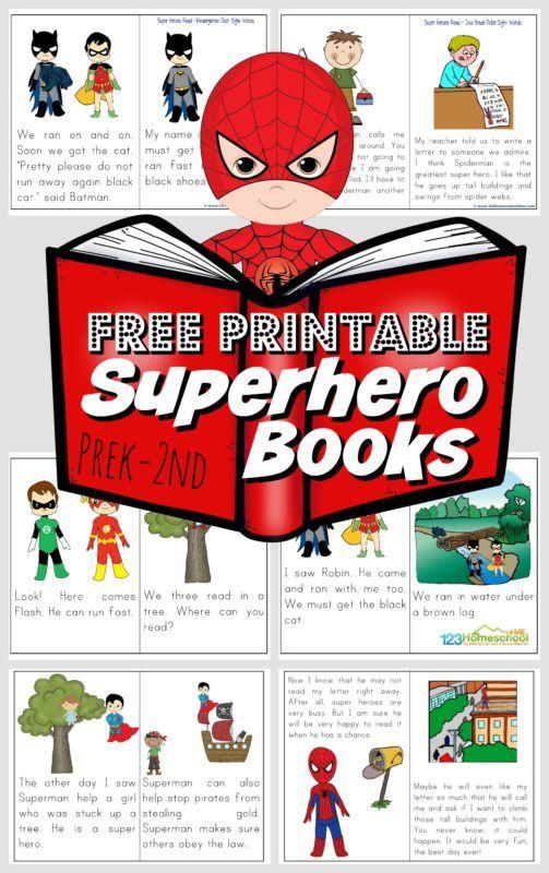 Free Printable Superhero Books Superhero Books, Word Games For Kids, Books  For First Graders