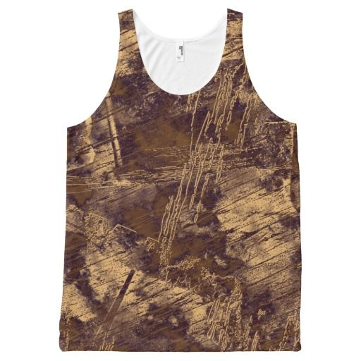 Abstract Urban Grunge Brown Scratch Distressed All-Over Print Tank Top Tank Tops