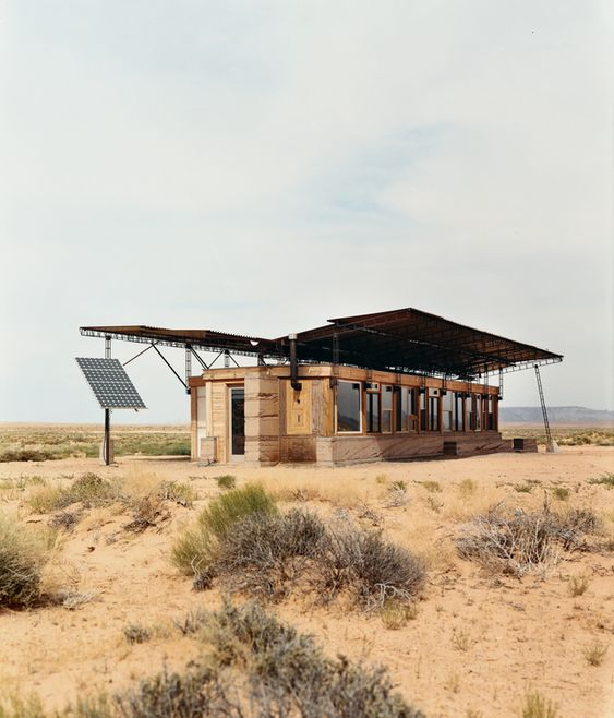 Entirely off the grid, the tiny house is powered by four photovoltaic panels that supply electricity to lights, small appliances, and more. On the Colorado Plateau. Click through for slide show.
