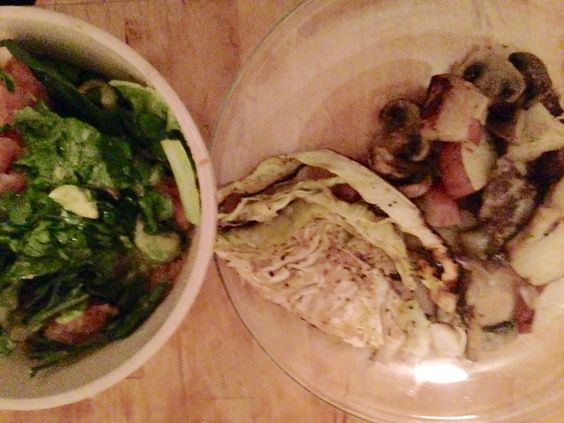4/13 Dinner- steak, red potato, mushrooms   Salad-romaine, spinach, grapefruit, avocado, sea salt (no dressing needed)   Roasted cabbage with balsamic vinegar honey olive oil mixture