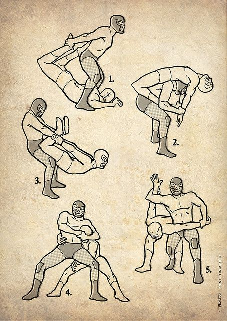 """Lucha Libra fighting stances / from """"Los Tigres Del Ring"""" by Jimmy Pantera.  Ankama Editions"""