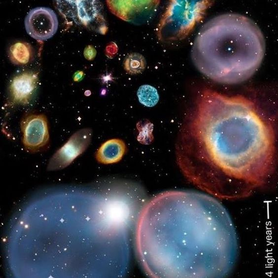該圖像描繪了不同星雲的大小,從底部最大的,從較小的星雲開始。 這些都是行星星雲,我們發現的最大的是20光年,將覆蓋整個形象💥•行星狀星雲與地球沒有任何關係,它實際上是由一顆星星所造成的。 а標記某人想要這個,並評論你有的任何問題!🔭圖像:©NASA #space #nasa #astronomy ...