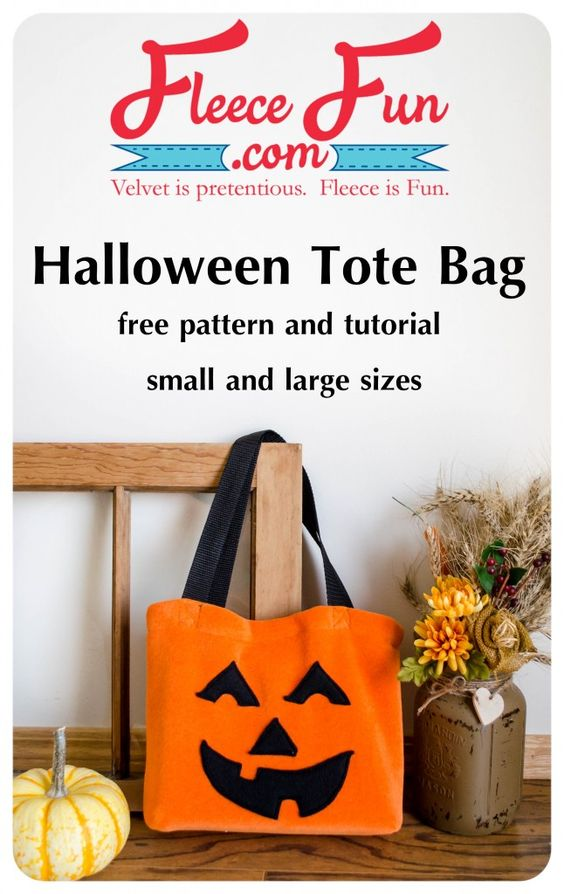 Create this fun Halloween trick or treat tote bag from fleece! Easy to make!